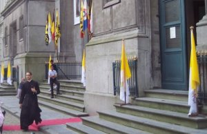 Papal Flags in Front of SSPX Church